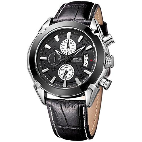 Reloj para los hombres negro 3 Atm movimiento de cuarzo impermeable tres bajo esferas fonctionnels 1