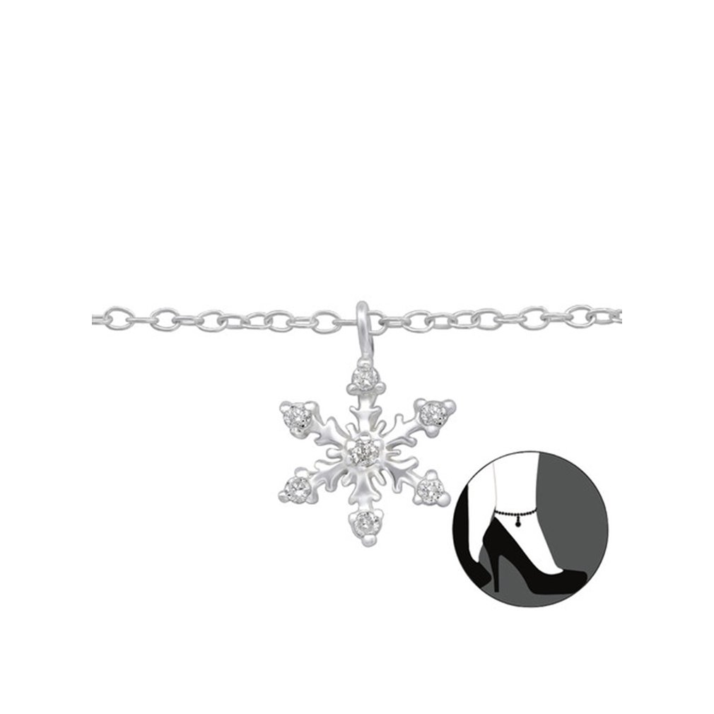 Polished and Nickel Free Liara Sterling Silver 925 Snowflake Anklet with Cubic Zirconia