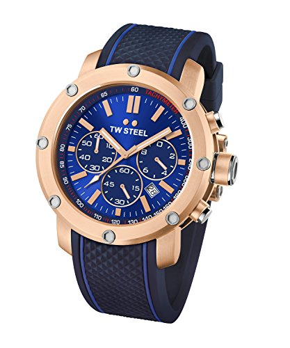 TW Steel Men's TS3 Analog Display Quartz Blue Watch 48mm Grandeur Watch