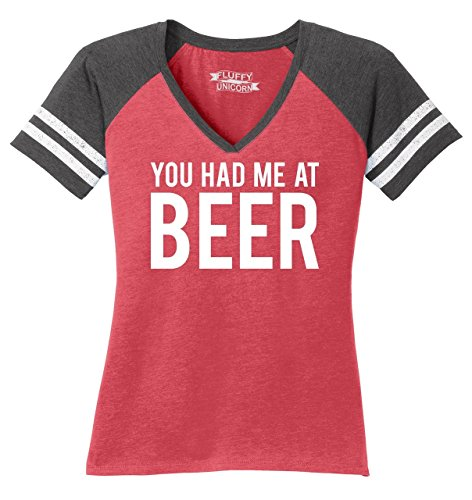 Beer Womens V-neck T-shirt - Comical Shirt Ladies Game V-Neck Tee You Had Me at Beer St Patty's Day Tee Heathered Red/Heathered Charcoal L