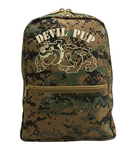 Kids Devil Pup Digital Woodland Small Backpack by Military Luggage Company