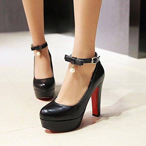 Mee Shoes Damen Plateau Ankle Boots runde Blockabsatz Pumps Schwarz