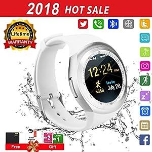 Montre Connectée,Bluetooth Smartwatch Soutenir SIM/TF Carte,Ecran Tactile Sport Pédomètre,Sommeil,Caméra,Alarme,Anti-Perdu Moniteur de Bracelet pour Huawei Samsung Sony Android Adult Enfant -Blanc
