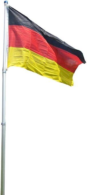 Mástil telescópico de 4 m, de aluminio y bandera de Alemania: Amazon.es: Jardín