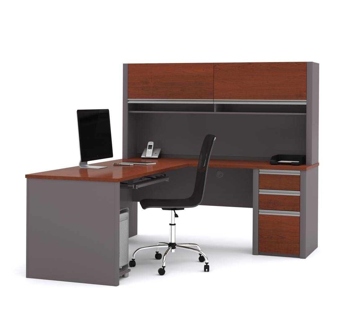Bestar L-Shaped Desk with Pedestal and Hutch - Connexion by Bestar