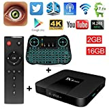Android TV BOX TX3 Mini 7.1 2GB 16GB Amlogic S905W Android TV Quad Core Support H.265 UHD/ 4K/ 2.4GHz WIFI Set-top Box with Backlit Wireless Keyboard (2017 Upgraded Model)