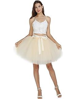 7fb137c3 Women's High Waist Princess Tulle Skirt Adult Dance Petticoat A-line  Wedding Party Tutu