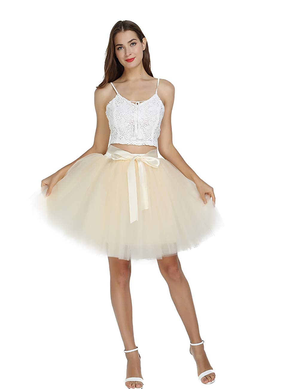 8ce8bc5967 Women's High Waist Princess Tulle Skirt Adult Dance Petticoat A-line  Wedding Party Tutu at Amazon Women's Clothing store: