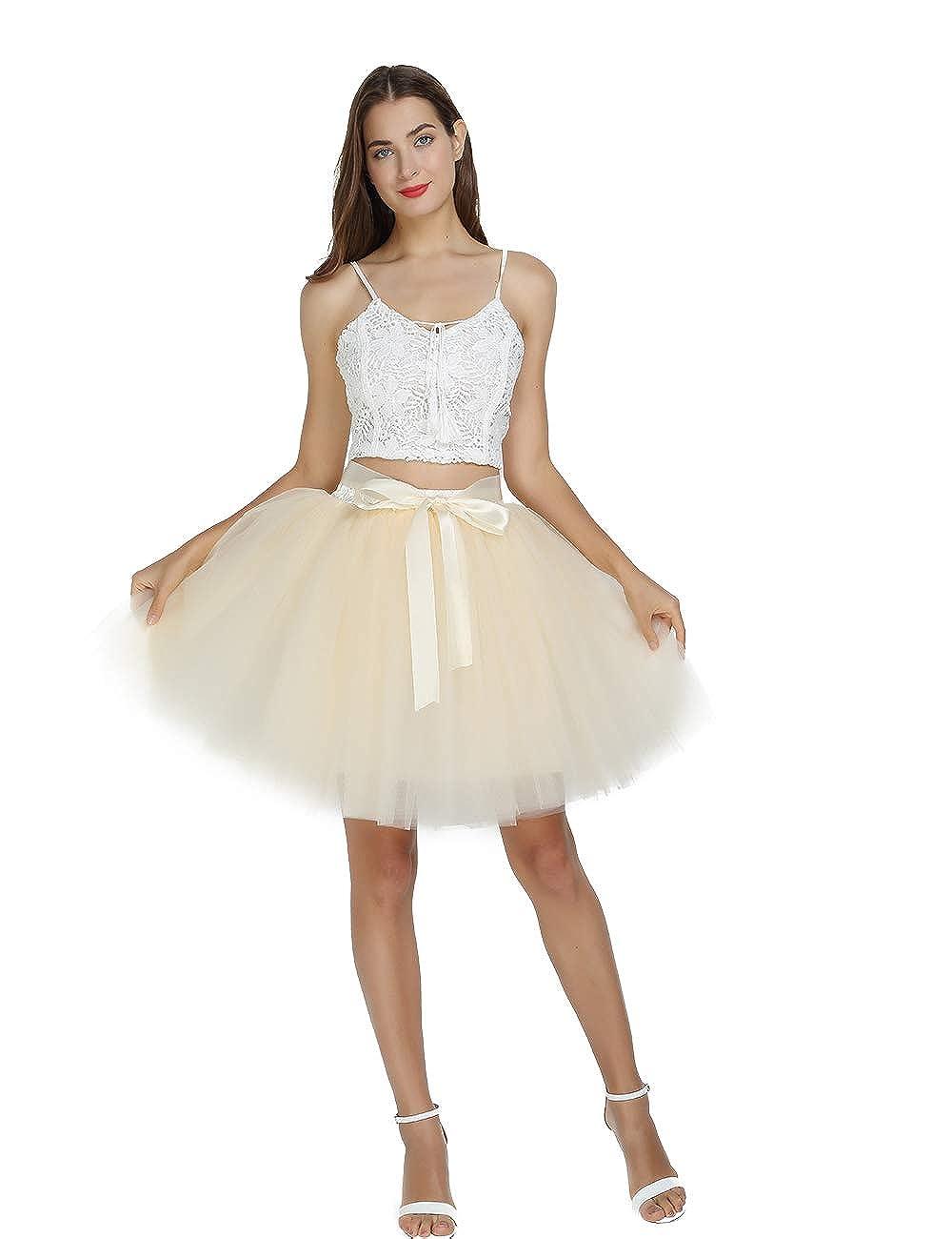 acb64748eea6 Women's High Waist Princess Tulle Skirt Adult Dance Petticoat A-line  Wedding Party Tutu at Amazon Women's Clothing store: