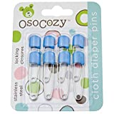 OsoCozy Diaper Pins - {Blue} - Sturdy, Stainless Steel Diaper Pins with Safe Locking Closures - Use for Special Events, Crafts or Colorful Laundry Pins by OsoCozy