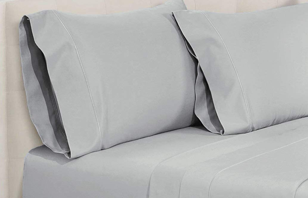 "CDM product AURAA Elegance Luxury 800 Thread Count World's Finest 100% True Egyptian Solid Cotton Sheet Set,Smooth Sateen Weave, 4 Piece Bedding Set,King Sheets,Upto 16"" Deep Pocket, Moonstone small thumbnail image"