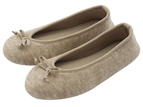 Ballerina Slipper Charm (HomeTop Women's Elegant Cashmere Knitted Memory Foam Indoor Ballerina House Slippers/Shoes (Medium/7-8 B(M) US, Beige))