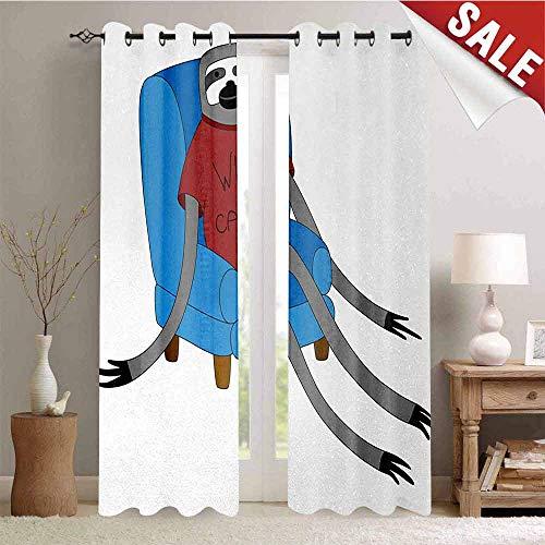 Hengshu Sloth Waterproof Window Curtain Urban Sloth T-Shirt with Inscription Who Cares Procrastination Laziness Idleness Room Darkening Wide Curtains W72 x L108 Inch Blue Grey Ruby (Everybody Loves An Irish Girl T Shirt)