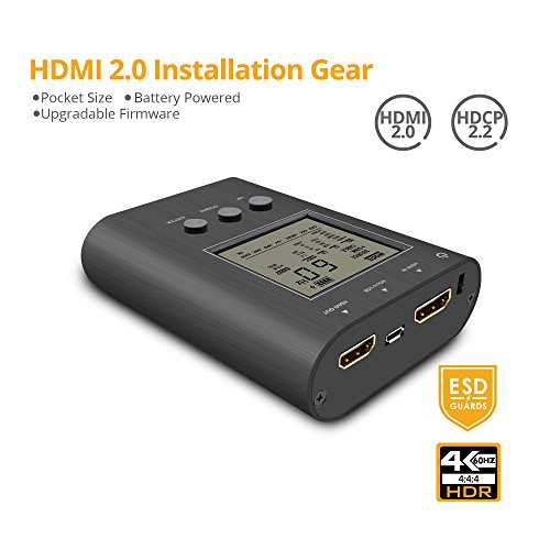 Hdmi Pattern - gofanco Prophecy Portable HDMI Tester Signal Pattern Generator Analyzer Installation Gear, Up to HDMI 2.0a 4K @60Hz 4:4:4 HDR 18Gbps, Battery Powered, HDCP 2.2, Firmware Upgradeable (PRO-HDMI2Gear)