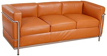 Good MLF Le Corbusier Style LC2 Sofa, 3 Seater, Aniline Leather, Chocolate Brown