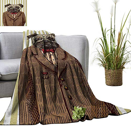 Pug Weave Pattern Extra Long Blanket Hand Drawn Sketch of Smart Dressed Dog Jacket Shirt Bow Suit Striped Background 36