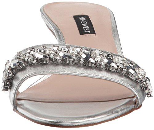 Nine West Women's Lelon Metallic Mule Silver 203UQ5ni