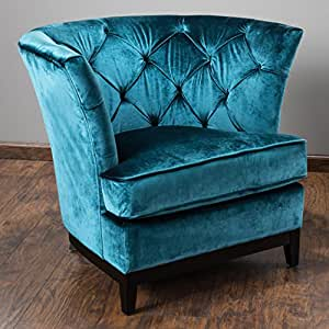 Amazon.com: Anabella Teal Blue Fabric Tufted Sofa Chair