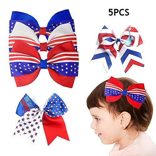 (American Flag Clips for Girls July 4th Independence Day Decorations Hairwear Decor Patriotic Hair Decal Accessories Glitter Cheerleader Hairpin Hair Bows 5 Packs Bow Goddess Hairpins Fashion)