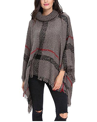G-Fengshang Donna Turtleneck Pullover nappa Cape maglia Poncho scialle lavorato a maglia Gray