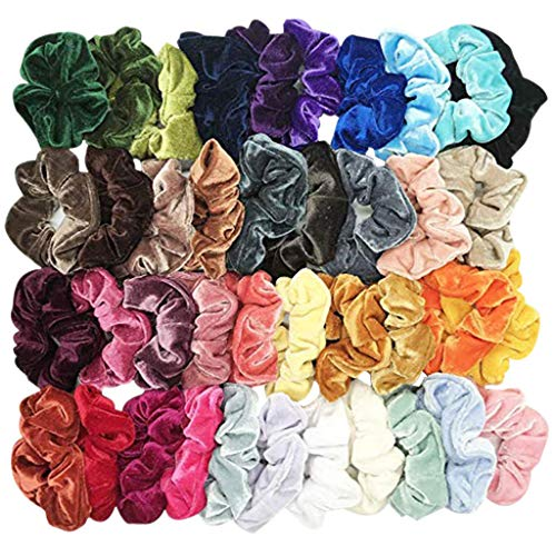 (Lurryly Hair Bands for Women's Hair,40 Pcs Velvet Elastic Hair Bands for Women or Girls Hair Accessories (Multicolor))