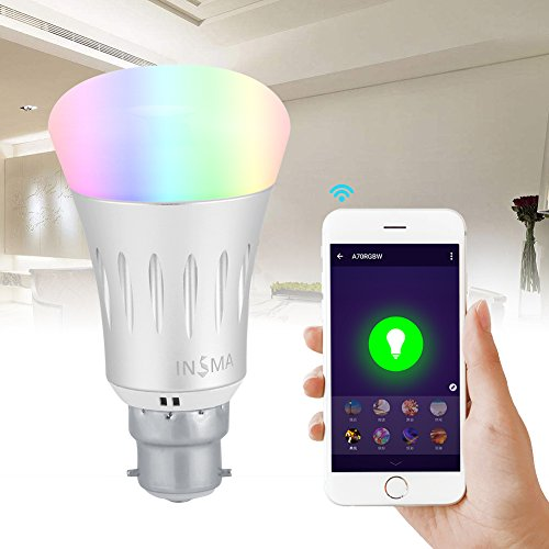 WiFi Smart Bulb,Smart LED Bulb with 7W WiFi Wireless Remote Control Dimmable RGBW-Compatible with Amazon Alexa and Google Assistant-Cellphone Control-Color Tunable Smart LED Light Lamp Light (B22)