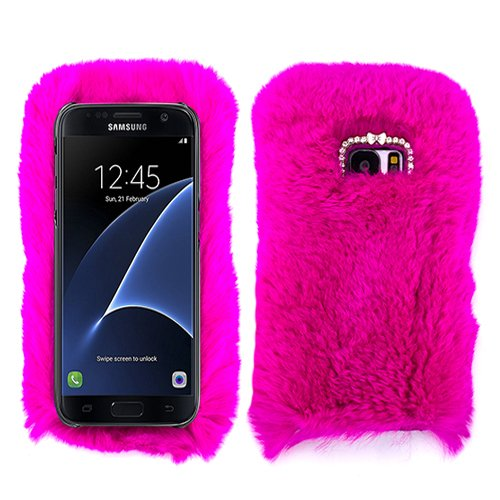 wholesale dealer efdb5 1f105 for Samsung Galaxy S7 Hot Pink Fur Furry Fluffy Case Soft Cover with Free  Pouch