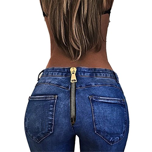 Londony Sale! Sexy Back Zipper Jeans, Women Casual Solid Color High-Waist Basic Stretchy Fit Skinny Jeans Denim Leggings Pants (Blue, S❤️)