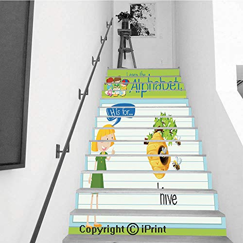 Stair Stickers Wall Stickers,13 PCS Self-Adhesive,Stair Riser Decal for Living Room, Hall, Kids Room,Flashcard Letter H is for hive -
