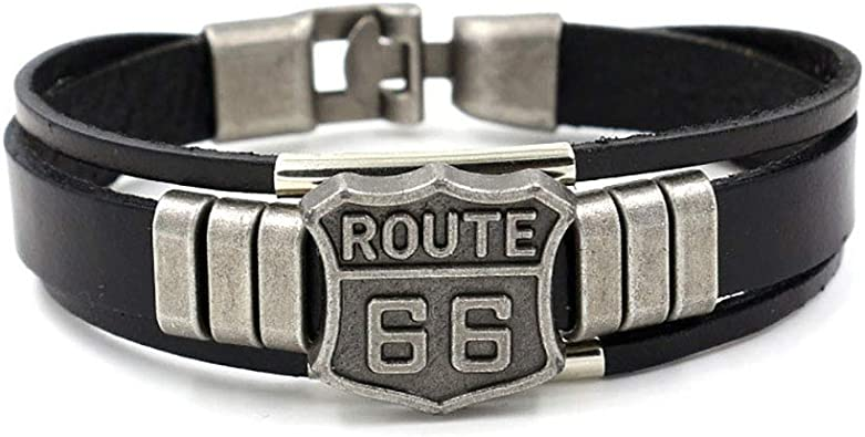 Punk Rock Light Brown Silver SumBonum Jewelry Mens Womens Alloy Leather Wide Cuff Bracelet