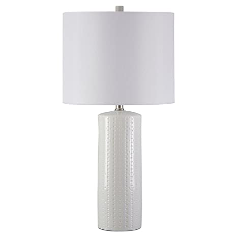Ashley furniture signature design steuben textured ceramic table lamp set with drum shades contemporary set of 2 white amazon com