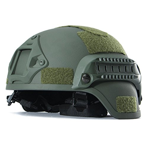 Tactical Hunting Combat CS Helmet with Side Rail NVG Mount (Dark Green)