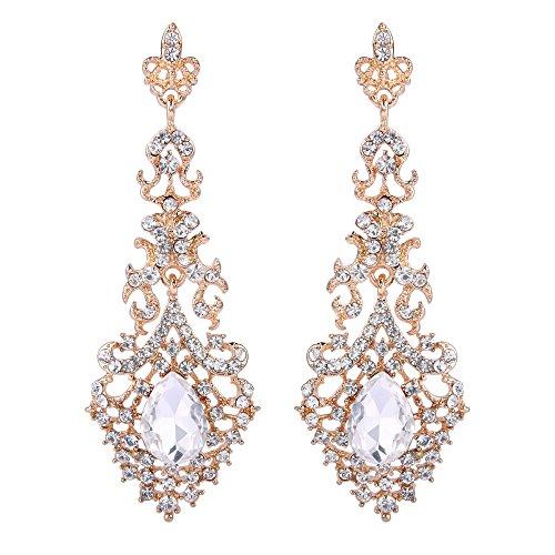 - BriLove Wedding Bridal Dangle Earrings for Women Crystal Hollow Teardrop Chandelier Earrings Clear Gold Toned