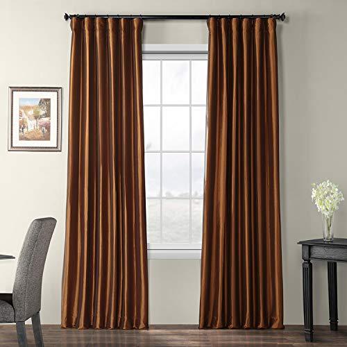 Curtain Copper - Half Price Drapes PTCH-BO209-108 Copper Blackout Faux Silk Taffeta Curtain, 50