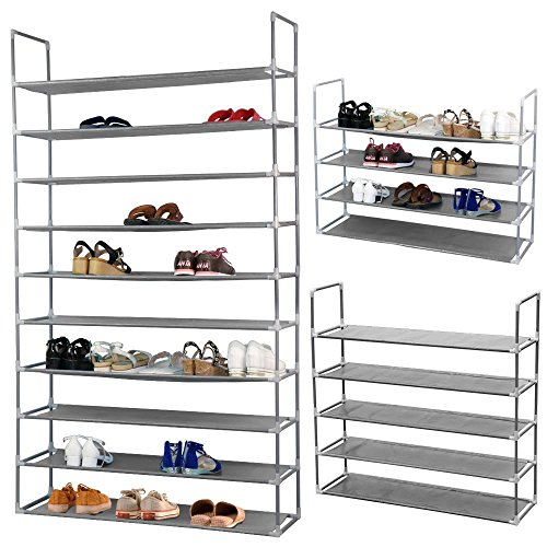 Topeakmart 50 Pairs Free Standing 10 Tiers Shoe Storage Cabinet Organizer Tower Rack Metal Shoe Rack (Unit Convertible Bench)