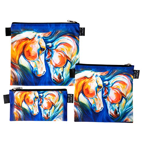 Designer Lunch Bags for Men & Women, Boys & Girls, Insulated, Fashionable, Reusable, Snack & Sandwich Bags w Zipper - Design by Marcia Baldwin (USA) - Heart Twins Equine