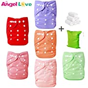 Cloth Diapers, Angel Love 6 Pack Diaper Covers+6 Diaper Inserts+1 Wet Dry Bag, Baby Washable Cloth Pocket Diapers, Reusable, All in one Size, Adjustable Snap, Gift Set, 2ZH02 (Girl Color)