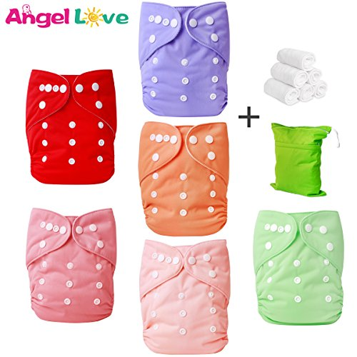 Cloth Diapers, Angel Love 6 Pack Diaper Covers+6 Diaper Inserts+1 Wet Dry Bag, Baby Washable Cloth Pocket Diapers, Reusable, All in one Size, Adjustable Snap, Gift Set, 2ZH02 (Girl - Cover Conveyor