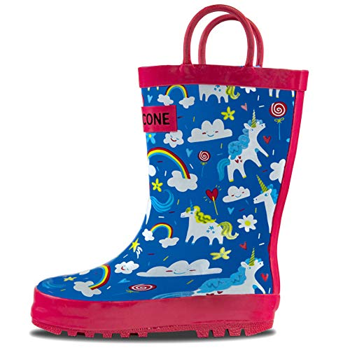 LONECONE Rain Boots with Easy-On Handles in Fun Patterns for Toddlers and Kids, Gary The Unicorn, Toddler 4