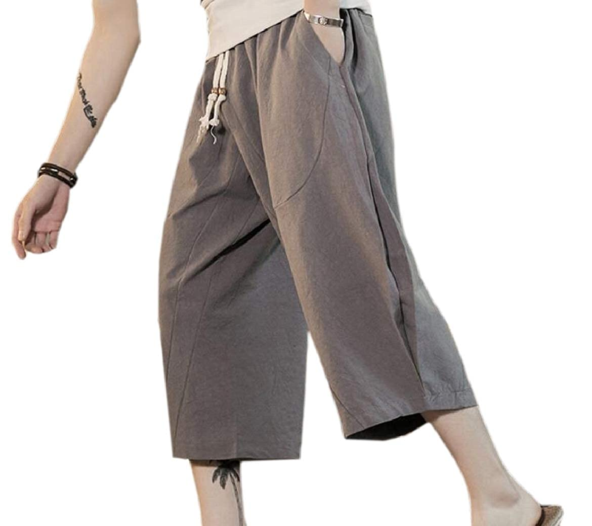 1570202a5fec HTOOHTOOH Men's Thin Soft Waist Drawstring Linen Cotton Capri Harem ...