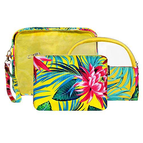 Anrui Cosmetic Bag, Travel Makeup Bag Set Leaves Floral Makeup Pouch Toiletry Bag Travel Organizer for Women Girls 3 Piece Set