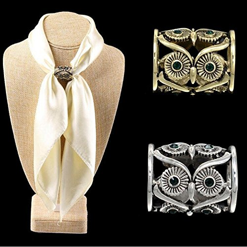 Chris.W Vintage Owl Scarf Ring Buckle Brooch Holder Silk Scarf Clip Slide Tube Scarf Jewelry for Women - Pack of 2(Silver+Bronze)