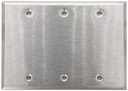 (Morris 83330 430 Wall Plate, Blank, 3 Gang, Stainless Steel)
