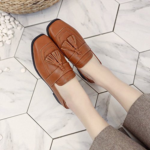 Giy Mujeres Classic Penny Loafers Tassel Flat Moccasin Square Toe Slip-on Casual Vestido Loafer Oxford Shoe Brown
