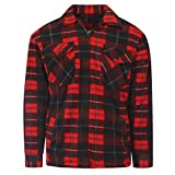 MyShoeStore Mens Padded Check Shirt Sherpa Fur Lined Lumberjack Collared Flannel Quilted Work Jacket Warm Thick Thermal Casual Work WEAR TOP Fleece Apparel Lumber Jack Padded Shirts Plus Big Size
