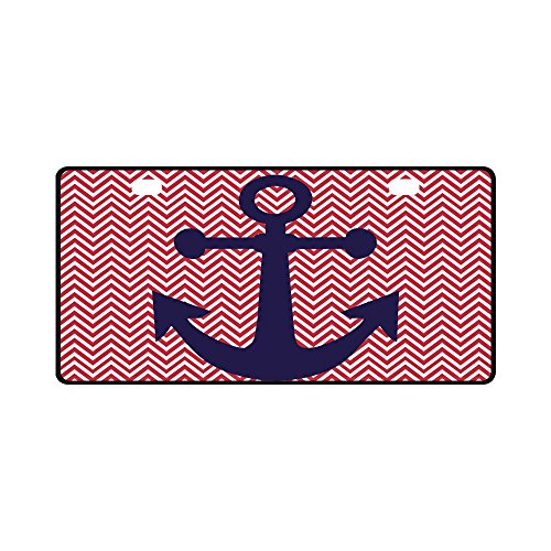 "Price comparison product image Colorful Nautical Chevron Anchor Pattern Durable Metal License Plate Frame for Women/Men Two Holes Car Tag (New) 11.8"" X 6.1"""