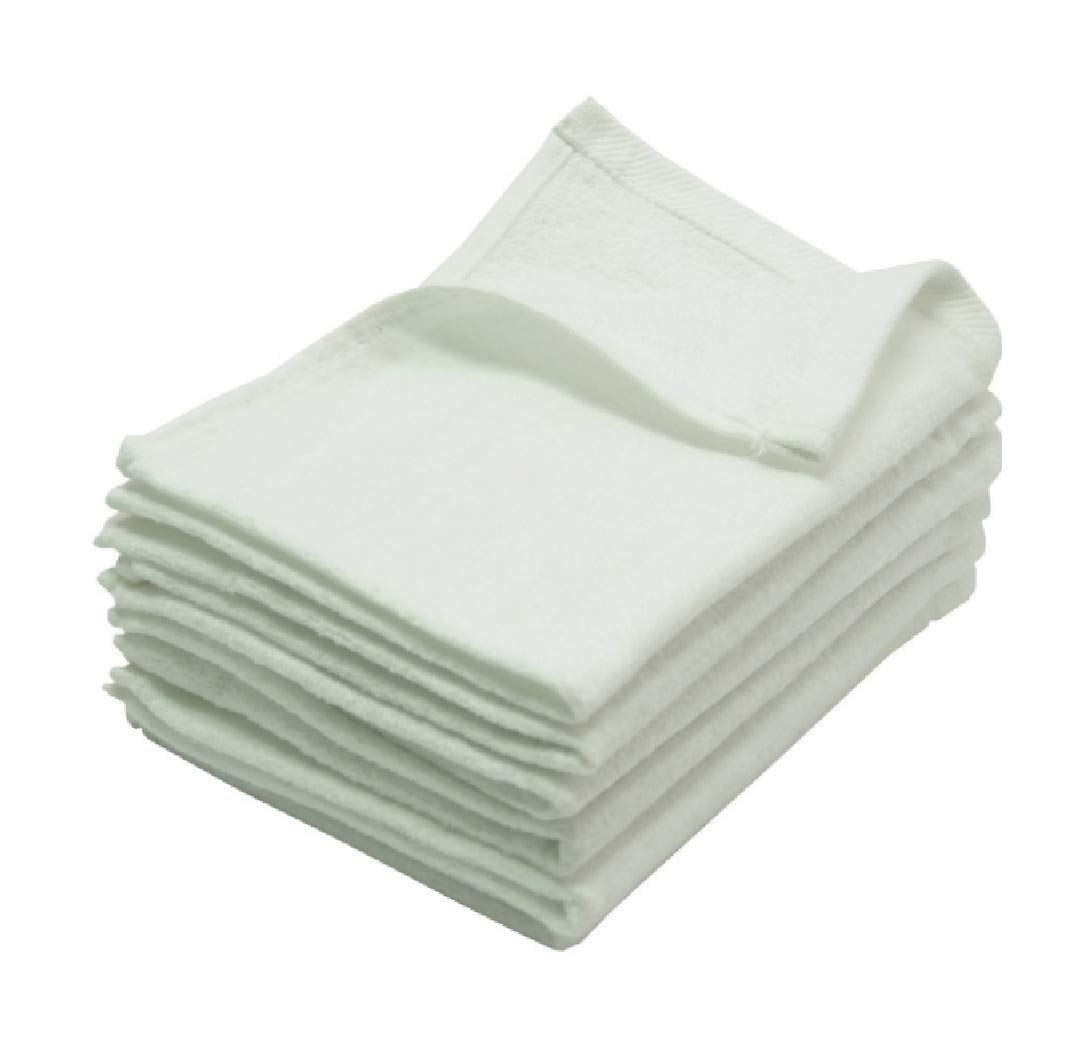 24 PACK Deluxe Fingertip Guest Towels, Terry Velour, Size 12'' x 20'', White Color, Pure Soft Premium Cotton, Perfect for Initial Monogrammed, Custom Personalized Gifts, Embroidered Gift (White, 24)