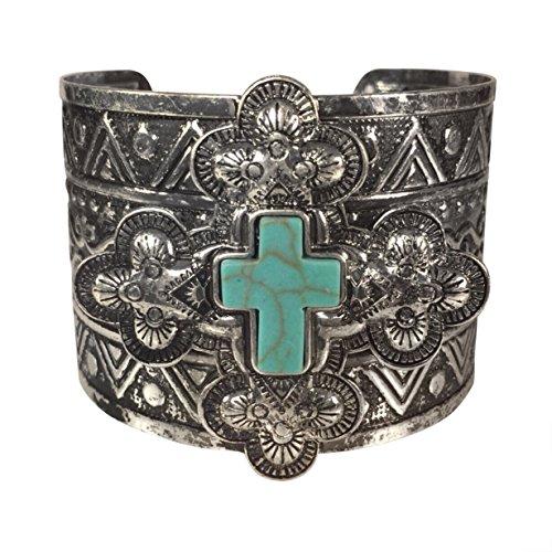 Simulated Turquoise Western Style Silver Tone Wide Cuff Bracelet (Cross) (Rhinestone Western Jewelry)