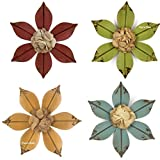 Set of Four Distressed Metal Wall Flowers For Sale