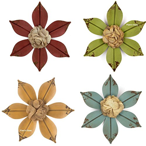 Set of Four Distressed Metal Wall Flowers (Rustic Glam Home Decor)